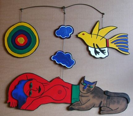 Multiplo Corneille - Women in the sky, large painted wood