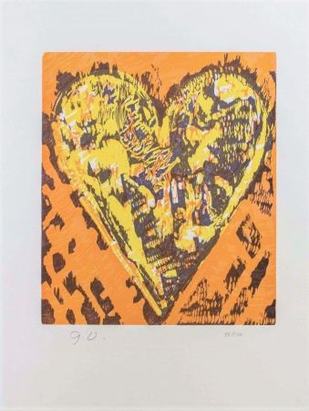 Incisione Su Legno Dine - Woodcut Heart