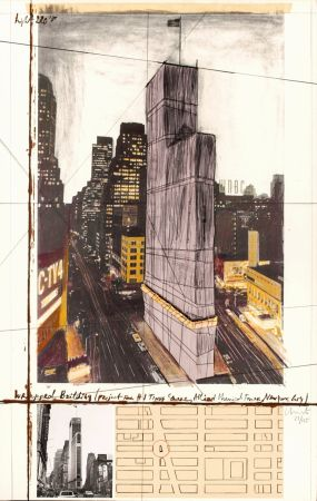 Multiplo Christo - Wrapped Building, Project for #1 Times Square, Allied Chemical Tower, New York City