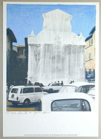 Litografia Christo - Wrapped fountain, Spoleto 1968