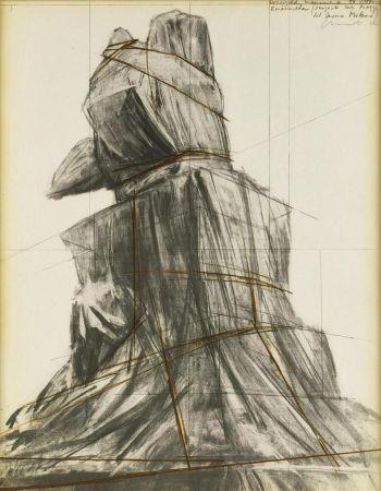 Litografia Christo - Wrapped monument to Vittorio Emanuele