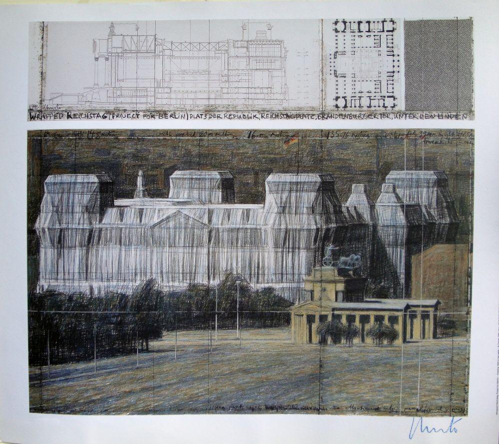 Serigrafia Christo - Wrapped Reichstag VI