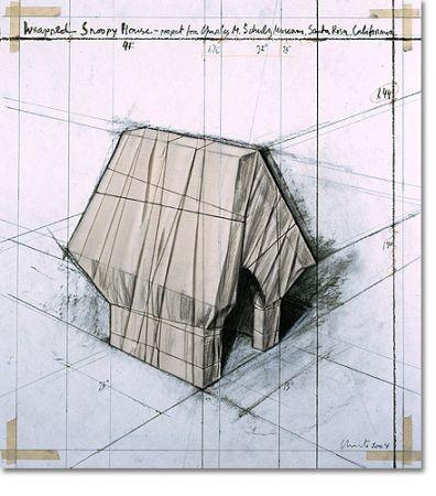 Litografia Christo - Wrapped Snoopy House   Paris Arc de Triomphe