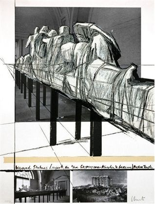 Serigrafia Christo - WRAPPED STATUES – PROJECT FOR DERGLYPOTEK-MUNCHEN, WEST GERMANY, AEGINA TEMPLE