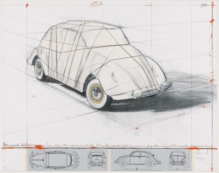 Litografia Christo - Wrapped Volkswagen (PROJECT FOR 1961 VOLKSWAGEN BEETLE SALOON)