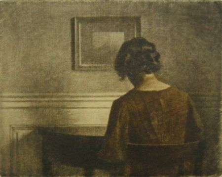 Maniera Nera Ilsted - Young  girl by a semi-circular table
