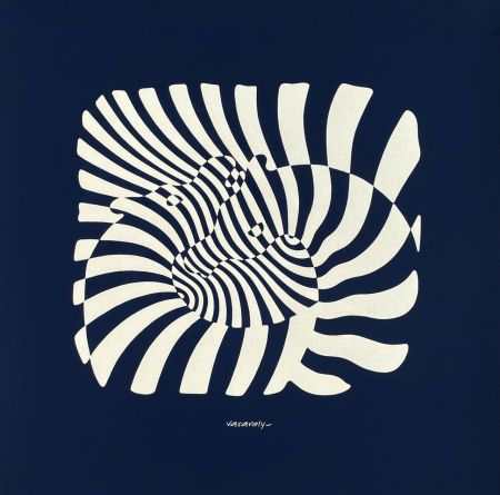 Serigrafia Vasarely - Zèbres sur fond bleu