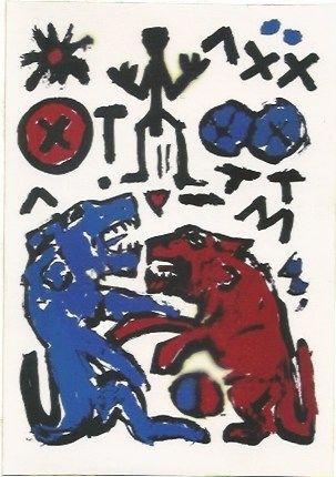 Serigrafia Penck - Zwei Lowen