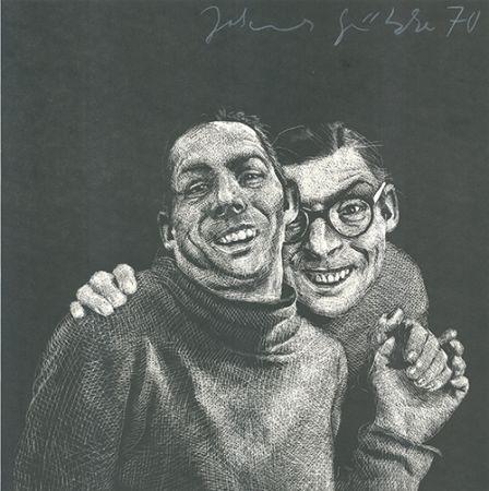 Linoincisione Grützke - Zwei Männer